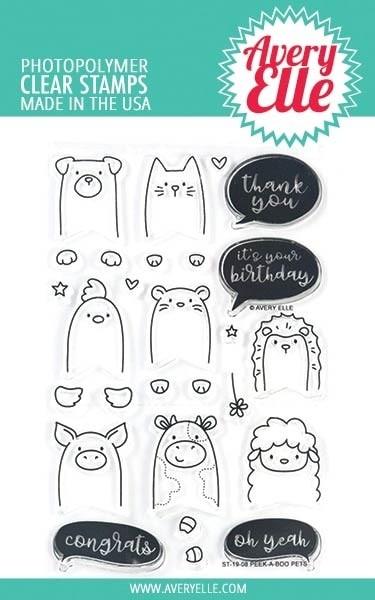 Avery Elle Peek a Boo Pets Clear Stamp Set
