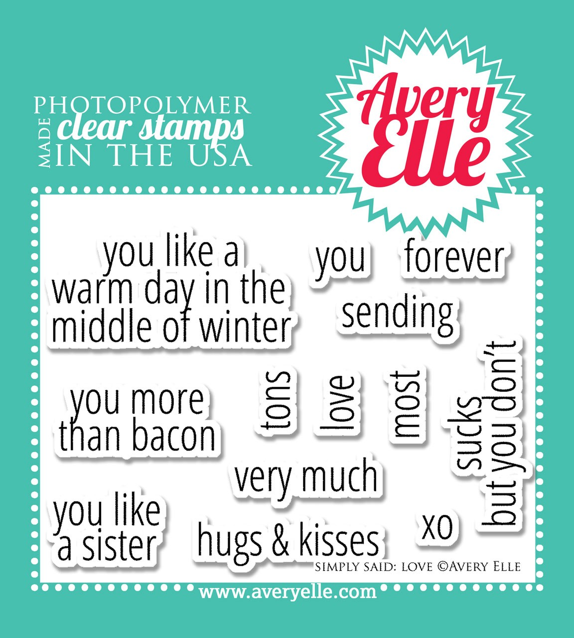 Avery Elle Simply Said Love Stamp Set