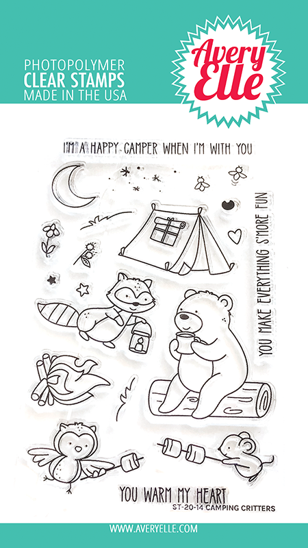SALE - Avery Elle Camping Critters Clear Stamps