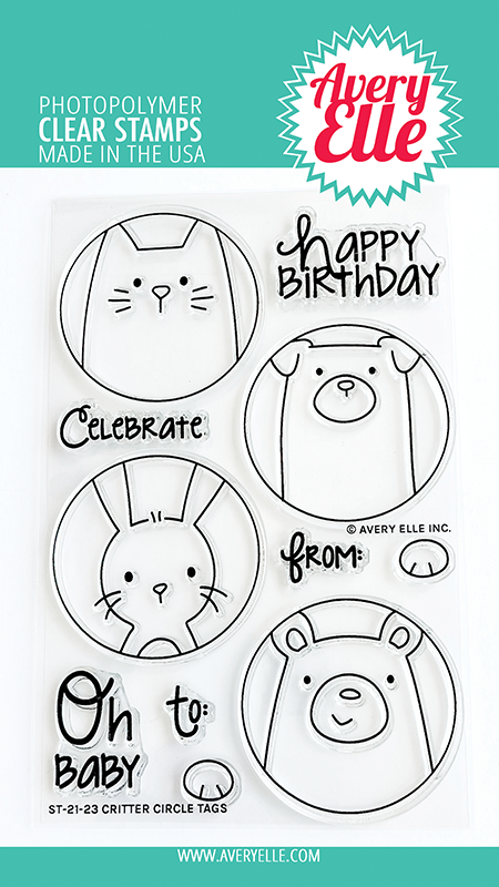 Avery Elle Critter Circle Tags Clear Stamps ST2123