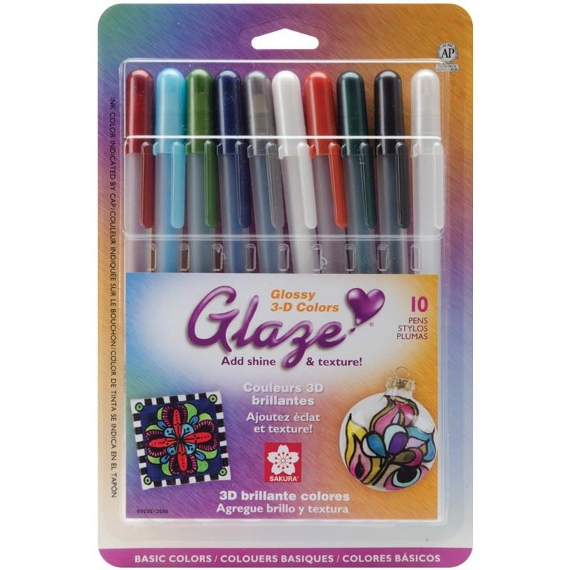 Gelly Roll Glaze Bold Point Pens 10/Pkg  Basic Colors