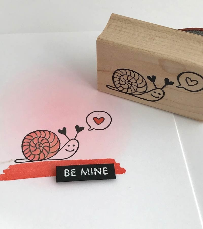 Snail Love Rubber Stamp 5764d