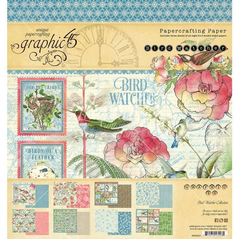 Graphic 45 Bird Watcher Paper Pad 8x8