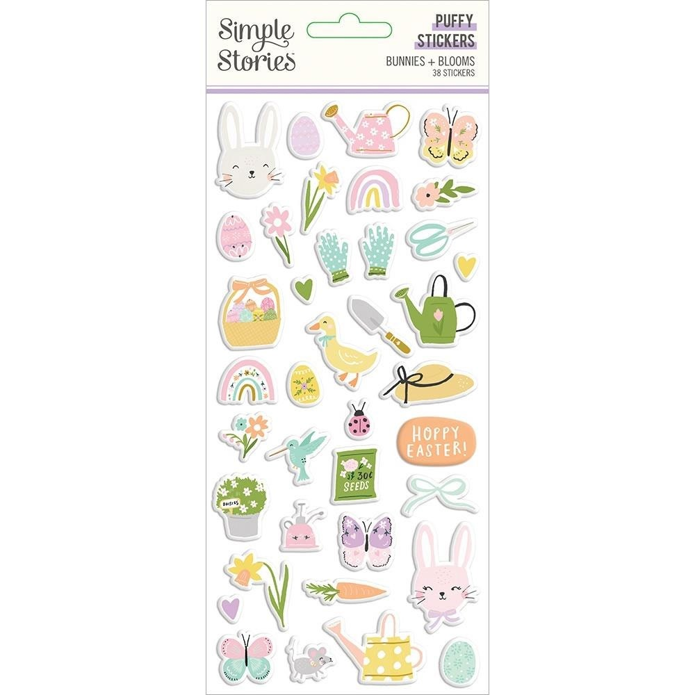 Bunnies & Blooms Puffy Stickers 38/Pkg