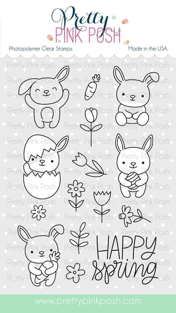 Pretty Pink Posh Bunny Friends Clear Stamp Set