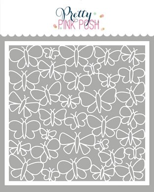 Pretty Pink Posh Butterfly Background Stencil