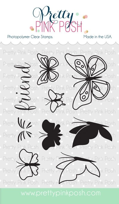 Pretty Pink Posh Butterfly Friends Clear Stamp Set