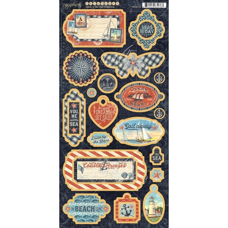"""Catch Of The Day Chipboard Die-Cuts 6""""X12"""" Sheet"""