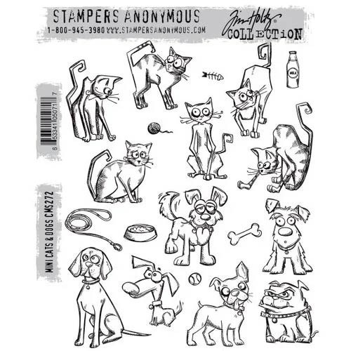 Stampers Anonymous Mini Cats and Dogs Cling Rubber Stamps