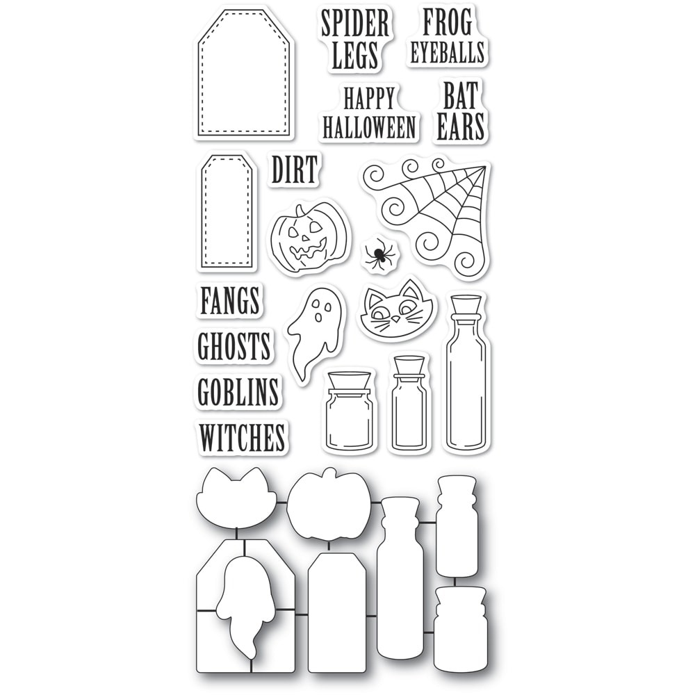 Poppystamps Halloween Ingredients clear stamp and die set cb493