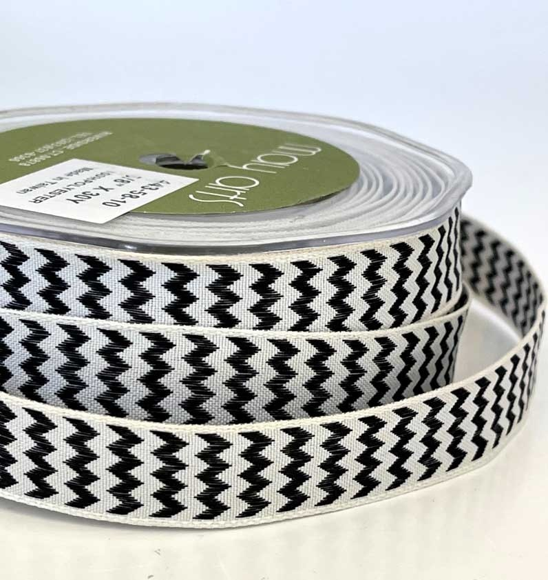 Woven Chevron Striped Ribbon with Wired Edge