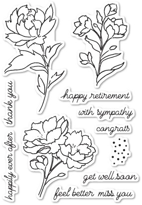 Poppystamps Peony Stems and Blossoms clear stamp set cl447