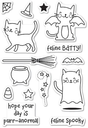 Poppystamps Feline Spooky clear stamp set CL60