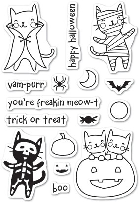Poppystamps Halloween Costume Cats clear stamp set CL461