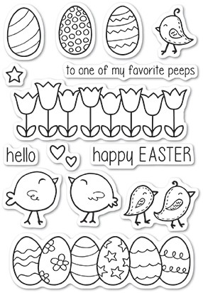 Poppy Stamps Easter Chicks clear stamp set
