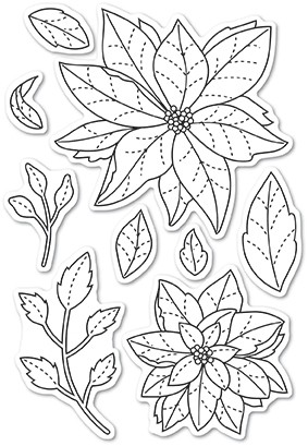 Poppy Stamps Poinsettia Delights clear stamp set