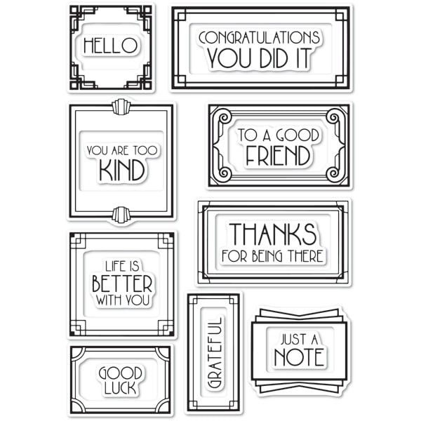 Poppy Stamps CL472 Art Deco Frames and Phrases clear stamp set
