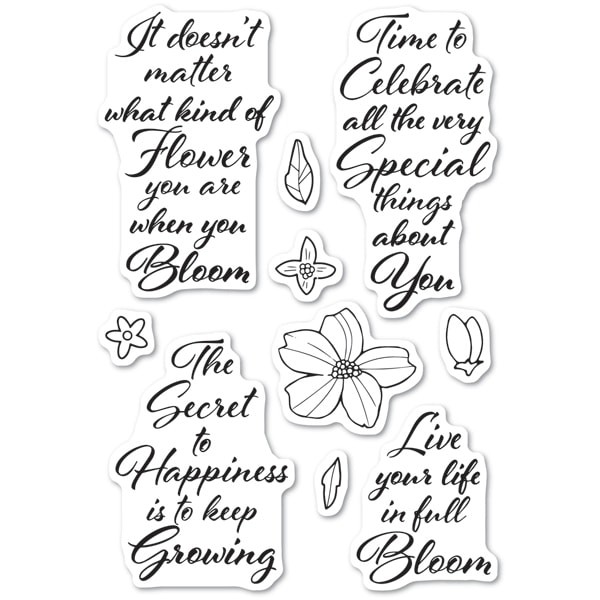 Poppy Stamps Blooming Greetings clear stamp set cl482
