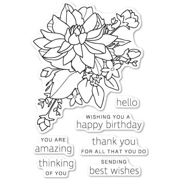 Poppy Stamps Peony Bouquet clear stamp set cl483
