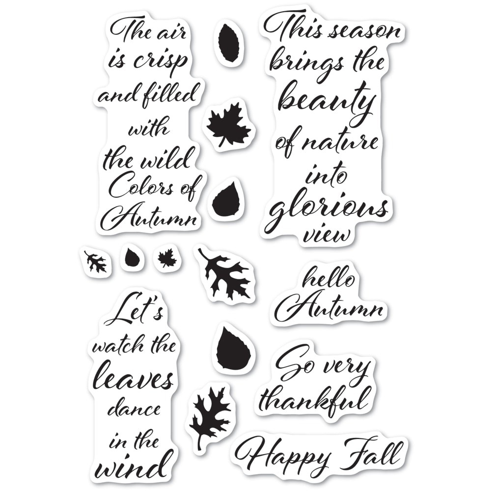 Poppystamps Autumn Leaves clear stamp set cl485