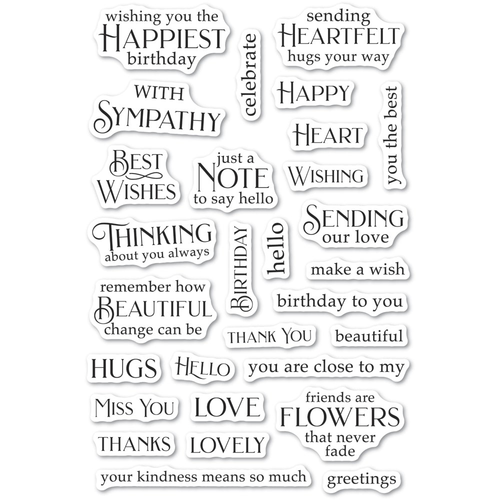 Poppystamps Greeting Basics clear stamp set CL490