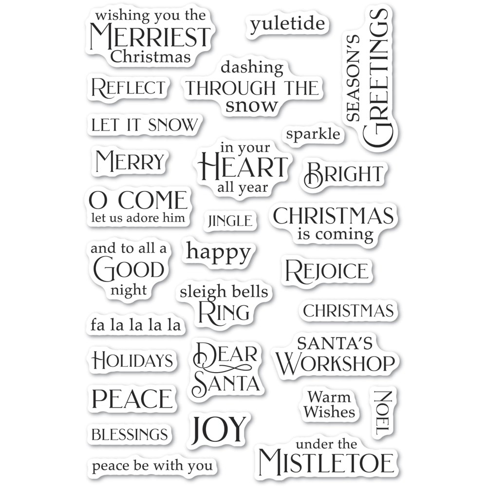 Poppystamps Christmas Greetings clear stamp set Cl495