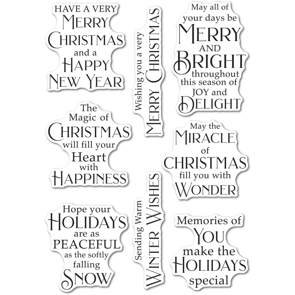 poppystamps Peaceful Christmas Greetings clear stamp set CL506