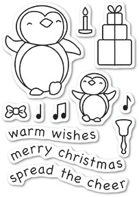 Memory Box Penguin Cheer clear stamp set