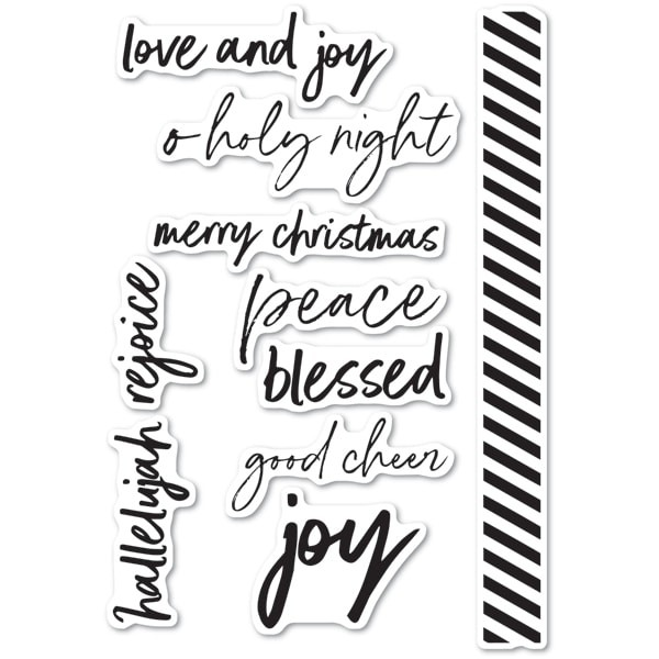 Memory Box  Bold Christmas Greetings clear stamp set CL5233