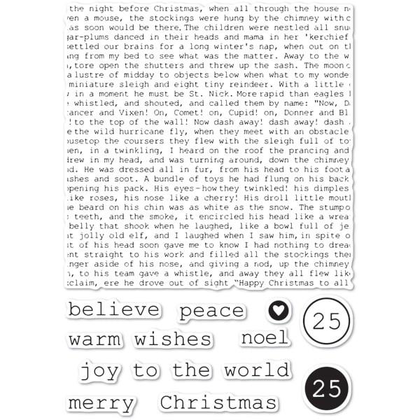 Memory Box Typewriter Holiday Elements clear stamp set C:5234