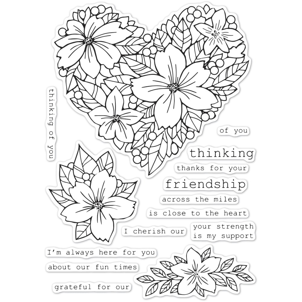 Memory Box Friendship Floral Heart clear stamp set CL5250