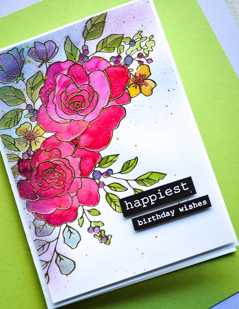 Memory Box CL5251-D Birthday Rose Corner clear stamp and die set