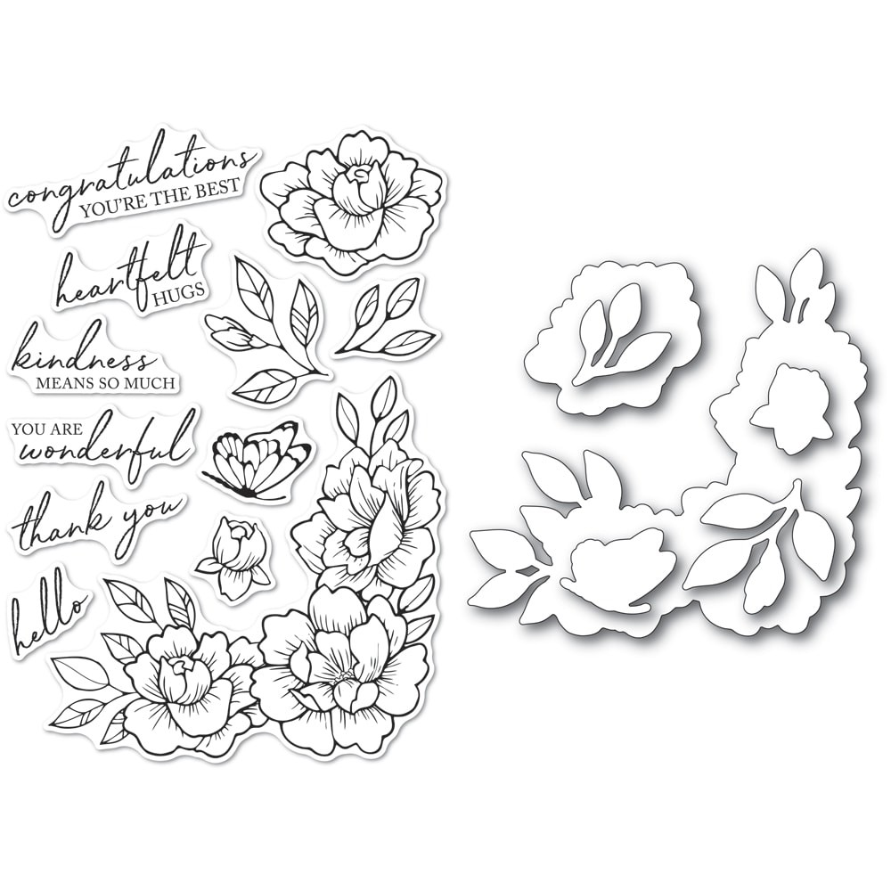 Memory Box Peony Garden Corner clear stamp and die set cl5255d