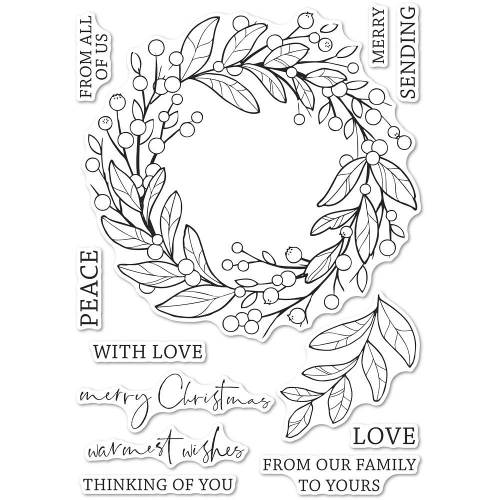 Memory Box Berry Wreath clear stamp set cl5260