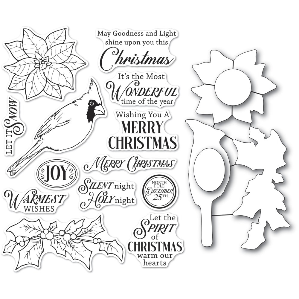 Memory Box Spirit of Christmas clear stamp and die set Cl5261d