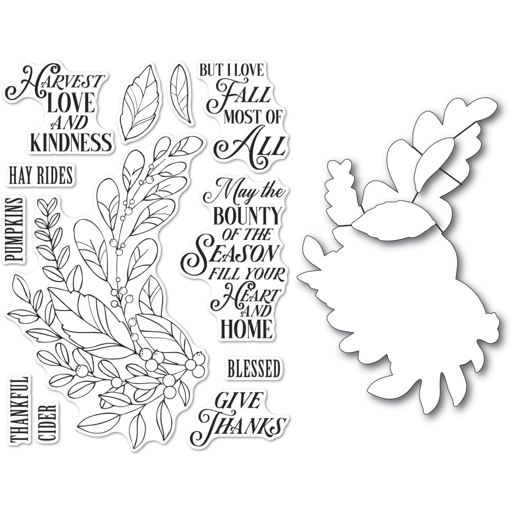 Memory Box Harvest Love and Kindness clear stamp and die set CL5262d
