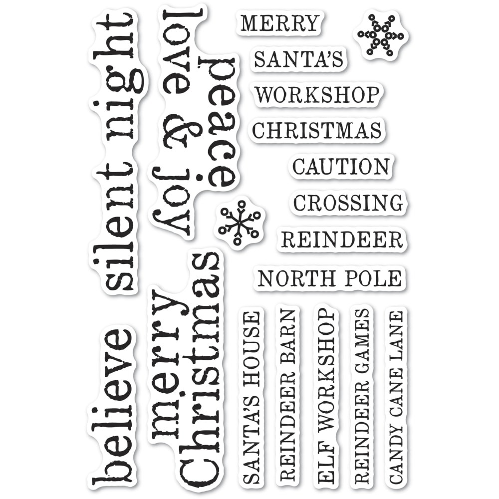 Memory Box Christmas Tiles clear stamp set cl5263