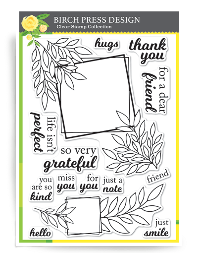 Birch Press Grateful Leaf Frames Clear Stamps CL8147