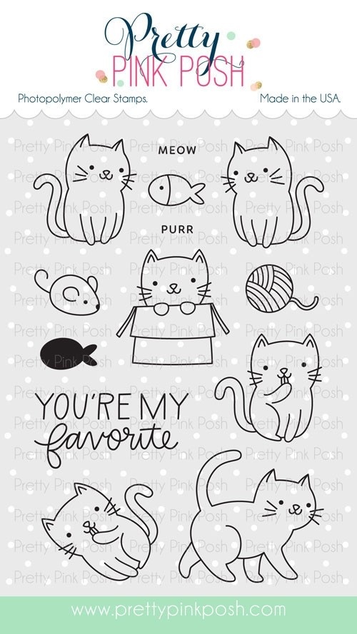 Pretty Pink Posh Cuddle Cats Stamp Set