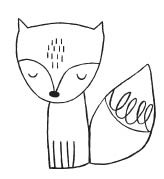 1517d - curly tail fox rubber stamp