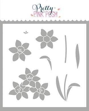 Pretty Pink Posh Daffodils Stencil