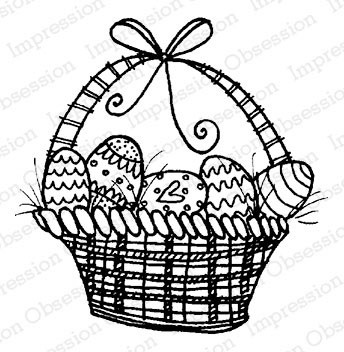 Eggs in One Basket Rubber Stamp  iod19920