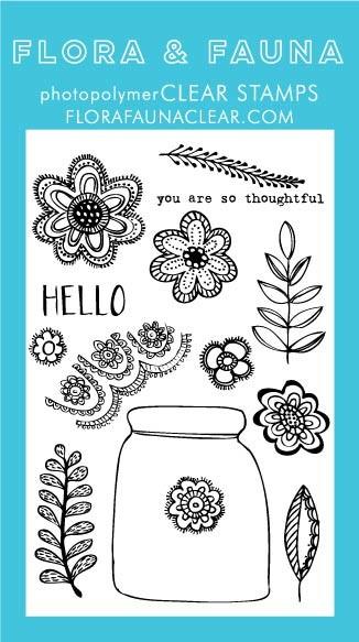 SALE - Flora & Fauna Floral Lace Jar Clear Stamp Set
