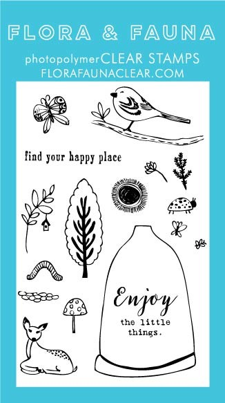 SALE - Flora & Fauna Happy Place Woodland Clear Stamp Set