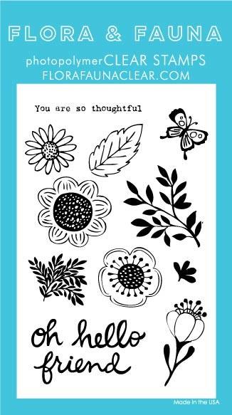 SALE - Flora & Fauna Oh Hello Friend Clear Stamp Set