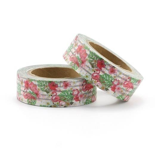 Flamingo Tropical Leaves Washi Tape