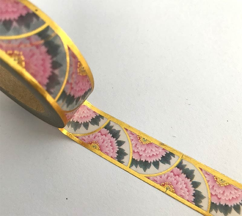 Floral with Gold Edges Washi Tape