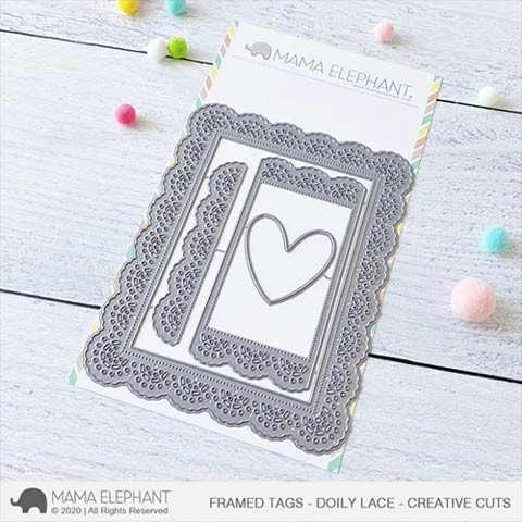 Mama Elephant Framed Tags - Doily Lace - Creative Cuts