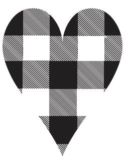 5678f - plaid heart rubber stamp