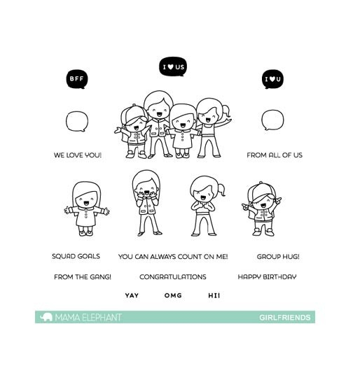 DAILY DEAL - Mama Elephant Girl Friends Clear Stamp Set